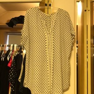 Women's black white short sleeve tunic